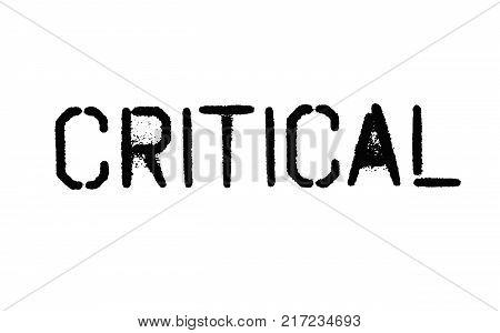 Critical. Typographic stamp visualisation concept Original series.