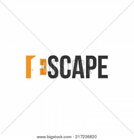 Escape letter E. Door with negative space style. Fire exit. Flat icons. Vector