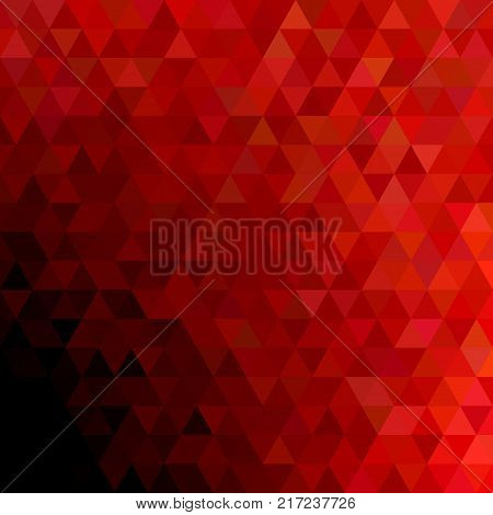 Geometrical abstract regular triangle background - trendy mosaic vector graphic design with red triangles on black background