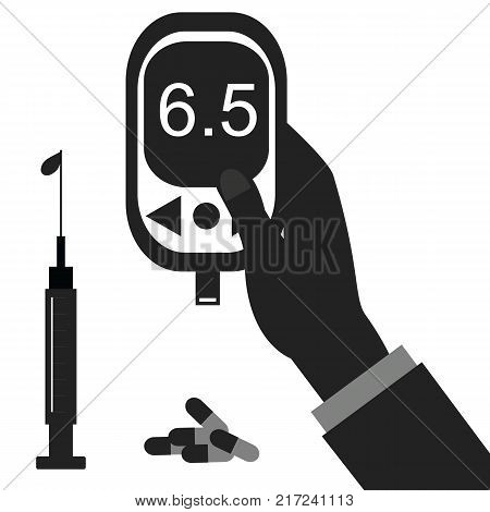 Diabetes icon and vector. Blood Glucose Test - Hand holding Glucose Meter.