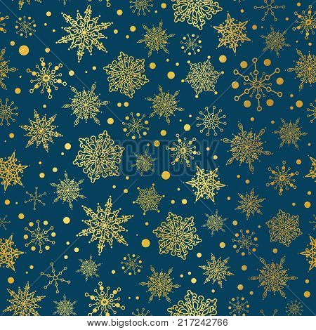 Vector gold and nay blue snowflakes seamless repeat pattern background. Great for winter holiday fabric, giftwrap, packaging, covers, invitations. Surface pattern design.