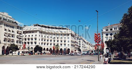 Thessaloniki, Greece - September 14, 2017: Aristotelous Square is the main tourist city square in the city center of Thessaloniki and is located on Nikis avenue on the city's waterfront.