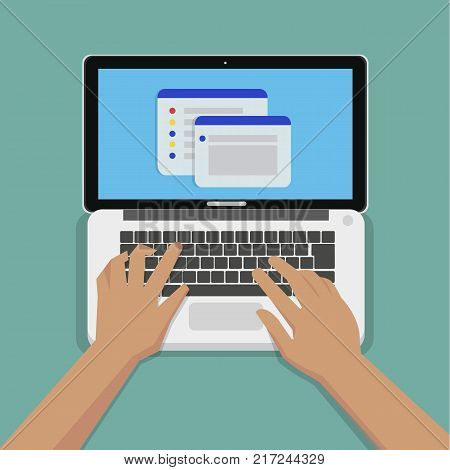 Flat Hands typing on white keyboard with laptop computer and website on screen