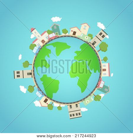Earth planet with city park cars.Fantasy world with town around.Beautiful earth with eco city concept.Travel on globe.Vector illustration