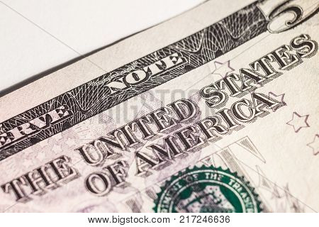 Macro five-dollar bills with the inscription United States of America.