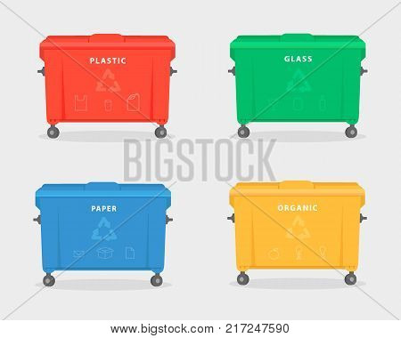 Garbage containers. Green red yellow and blue trash dumpster for trash like paper glass plastic and food waste. Vector Illustration isolated on white background. Trash recycling concept