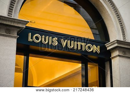 Milan, Italy - September 24, 2017:  Louis Vuitton Store In Milan. Fashion Week Louis Vuitton Shoppin