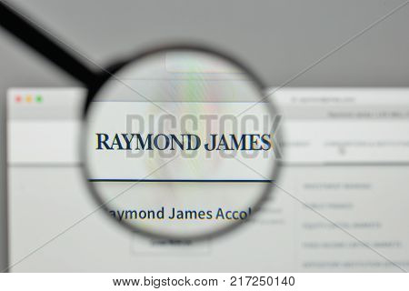 Milan, Italy - November 1, 2017: Raymond James Financial Logo On The Website Homepage.