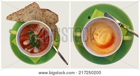 Collage of a full green bowl of red tomato soup with cream and parsley and brown bread and an empty bowl of tomato soup. With space for text.