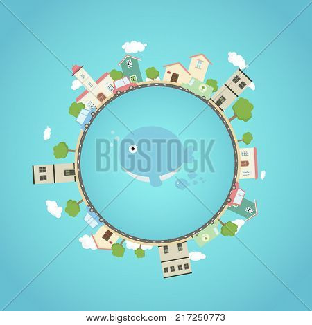 Earth planet with city park cars and cute whale in the middle .Fantasy world with town around.Beautiful earth with eco city concept.Travel on globe.Vector illustration