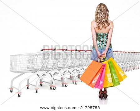 woman with shopping bag and trolley cart background