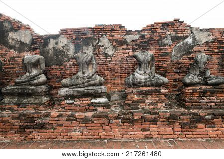 Old statue of buddha is the world heritage in Ayutthaya.