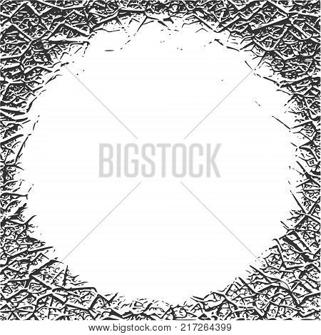 Grunge Cracks Effect Texture. Cracked Concrete Wall. Round text field. Vector Background