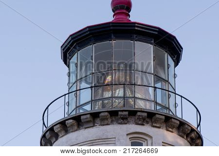 Close Up of Heceta Head Lighthouse Light Room in late afternoon