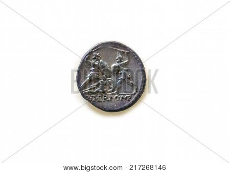 Roman Aes coin depicting Gladiators fighting. 96-95 BC. Isolated over white background