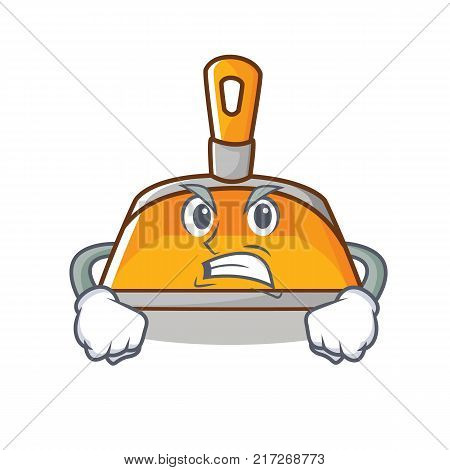 Angry dustpan character cartoon style vector illustration