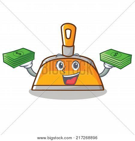 With money dustpan character cartoon style vector illustration