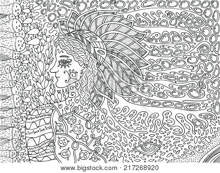Shamanic forest spirit. Doodle cartoon coloring page for adults. Vector illustration.