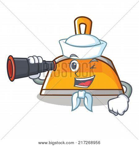 Sailor with binocular dustpan character cartoon style vector illustration
