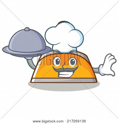 Chef with food dustpan character cartoon style vector illustration