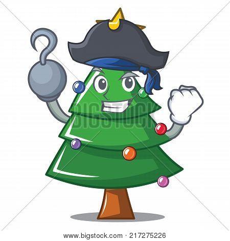 Pirate Christmas tree character cartoon vector illustration