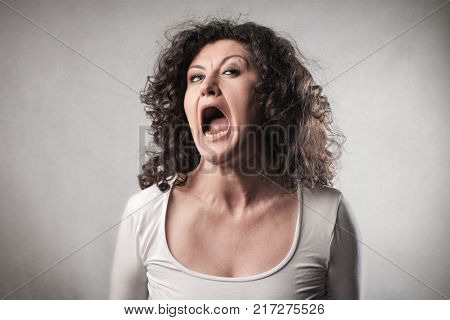 Scared woman screaming