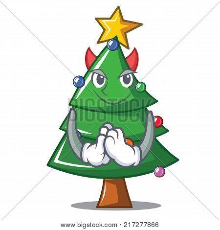 Devil Christmas tree character cartoon vector illustration