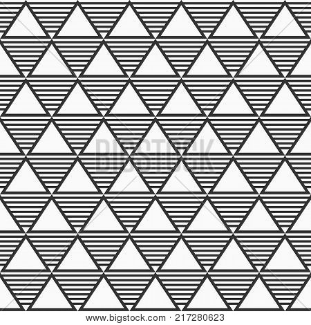 Abstract geometric monochrome seamless pattern with triangles. Modern stylish texture. Repeating geometric tiles. Simple composition from striped triangles. Minimalistic print. Vector background.