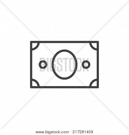 Paper money line icon, outline vector sign, linear style pictogram isolated on white. US banknotes dollar symbol, logo illustration. Editable stroke