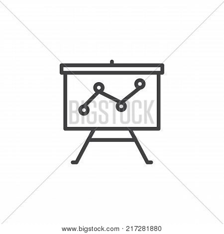 Business graph chart presentation line icon, outline vector sign, linear style pictogram isolated on white. Projection screen with a graph symbol, logo illustration. Editable stroke
