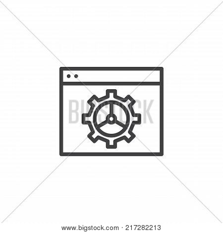 Website with setting cogwheel line icon, outline vector sign, linear style pictogram isolated on white. Computer network settings symbol, logo illustration. Editable stroke
