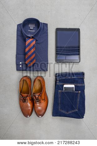 Men elegance clothes with leather shoes ,purse, phone ,jeans  background