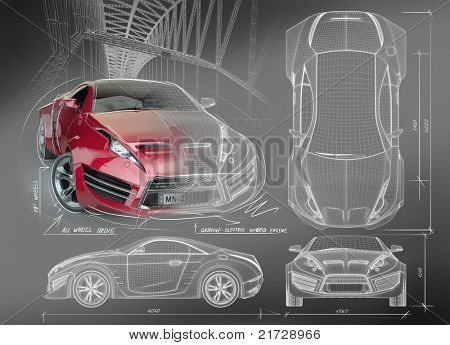Sports car blueprints. Non branded concept car.