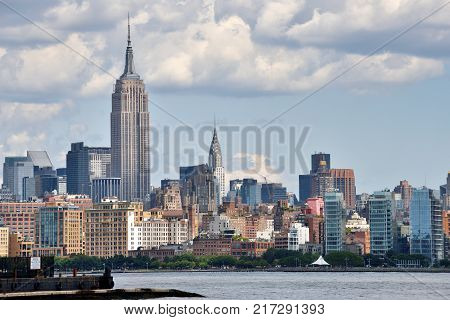 NEW YORK CITY USA - AUG. 25: Manhattan Skyline and Hudson river on August 25 2017 in New York City NY. Manhattan is the most densely populated borough of New York City.
