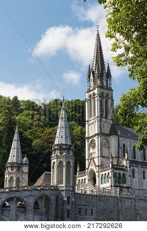 A view at the beautiful Sanctuary of Our Lady of Lourdes in France.