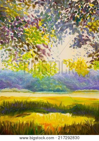 Bright sunny countryside landscape. Green foliage of trees. Yellow field. High grass. Against the background of violet forest original oil painting illustration postcard artwork Art.