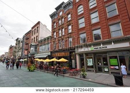 JERSEY CITY USA - AUG. 25: Jersey City downtown on August 25 2017 in Jersey City NJ. Jersey City is the second-most-populous town in the U.S. state of New Jersey.