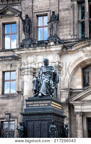 Sculpture of Friedrich August in Zwinger Palace in Dresden. Germany. Historical Monument of King.