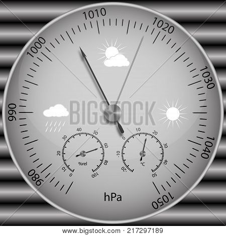 Vector image of a realistic barometer for determining atmospheric pressure