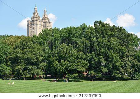 NEW YORK CITY - AUGUST 24: Central Park on August 24 2017 in New York City NY. Central Park is an urban park in Manhattan New York City