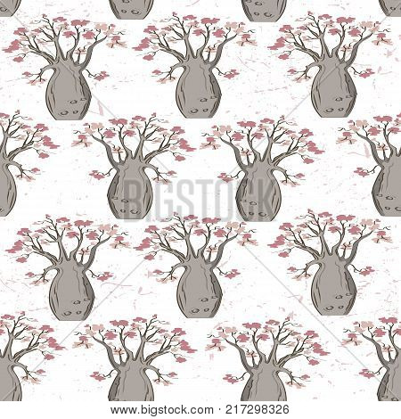 Baobab tree seamless pattern. Vector illustration. Simple background with elegant pink and bown palette