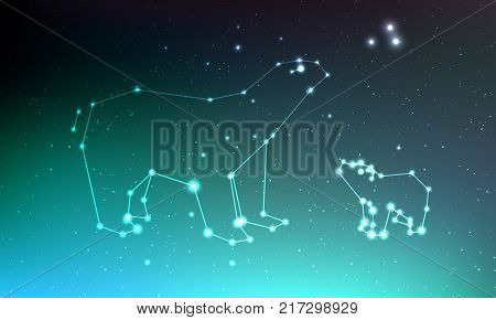 Ursa major and ursa minor constellation in night sky with lights, stars. Ursa in dark deep sky, line and shiny stars in one constellation on blue sky background