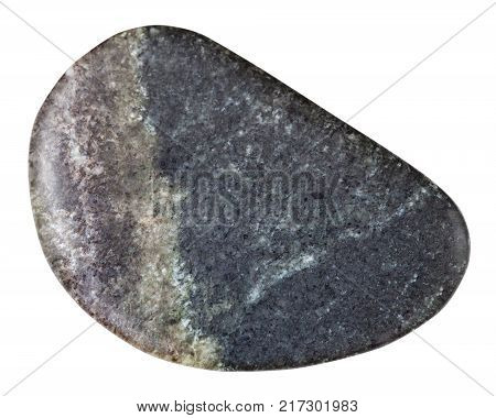 macro shooting of natural mineral rock specimen - tumbled olivinite stone isolated on white background from Kovdor region, Kola Peninsula, Russia