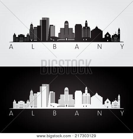 Albany usa skyline and landmarks silhouette black and white design vector illustration.