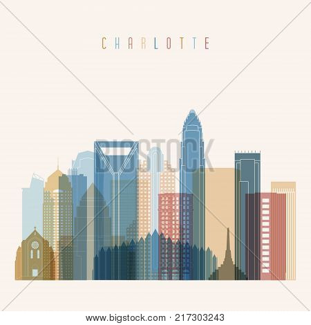 Charlotte state North Carolina skyline detailed silhouette. Transparent style. Trendy vector illustration.