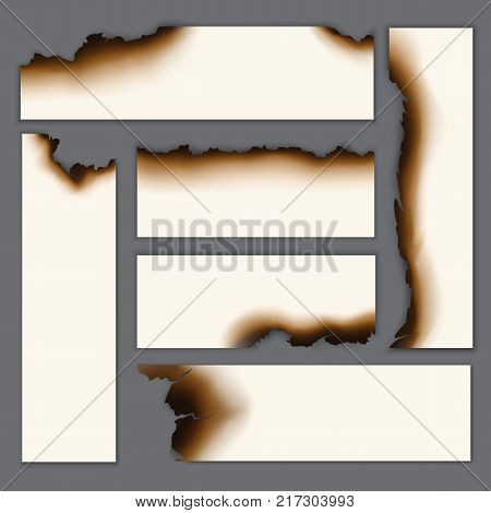 Realistic burnt blank paper sheets set with scorched damaged charred edges isolated vector illustration