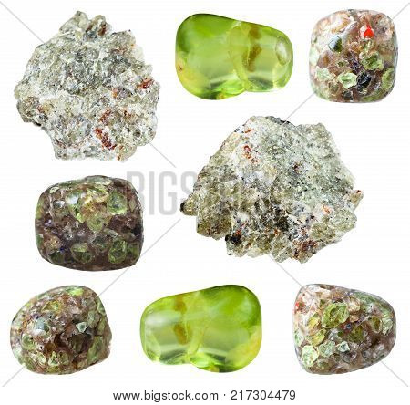 collection of natural mineral specimens - various Peridot (Chrysolite, Olivine) gem stones isolated on white background poster