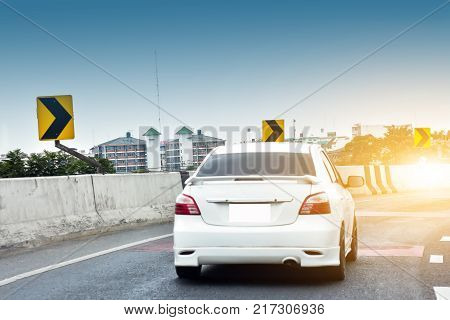Car driving on high way roadCar a lot on the road
