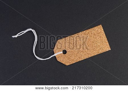 Holiday Blank Golden Tag Or Label With Silver Balls