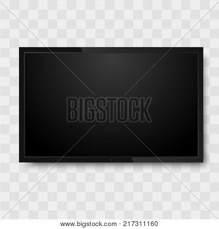 Black monitor on transparent background. TV screen, led type or lcd .